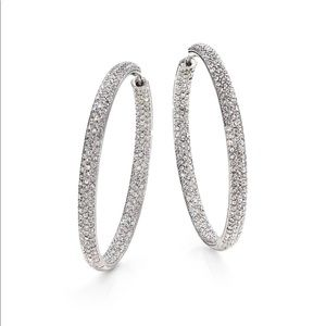 GORGEOUS Adriana Orsini Pave Silverplated Hoops